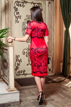 Formal red dress with black decoration Avangard