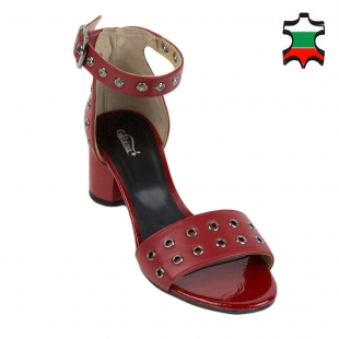 Women's red leather sandals 33893