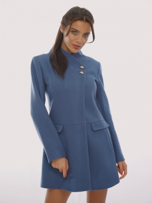 Wool and cashmere coat in blue 11903-R6