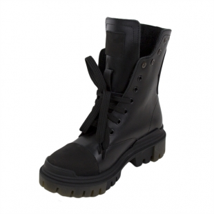 Women's black leather boots with ties 20674