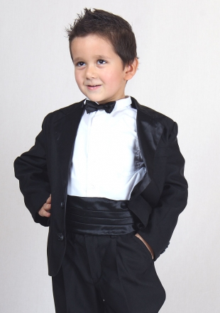 Boys black blazer with satin collar RUMENA