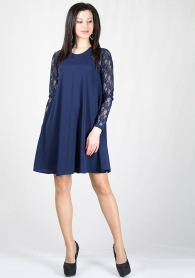 Wide blue dress with lace sleeves RUMENA