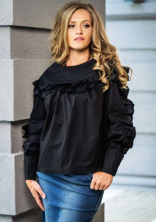 Black wide shirt with frills Avangard