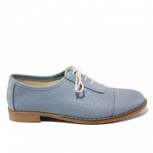 Women's anatomical leather shoes with a flat sole in soft blue 21024