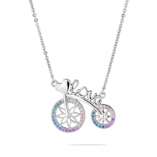 Silver bicycle pendant necklace with heart with colourful zircons END681N Swan