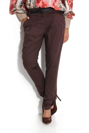 Brown trousers with tucks and inserts on belt Avangard