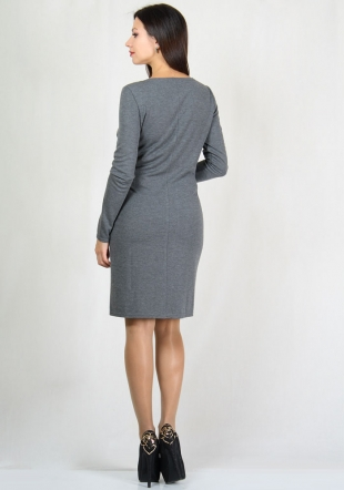 Grey dress decorated with ribbon RUMENA