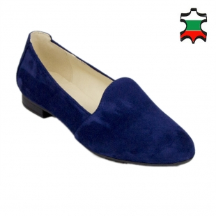Women's blue suede leather mocassins 19233