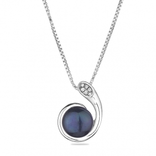 Silver necklace with natural black pearl and zircons CAA089NB Swan