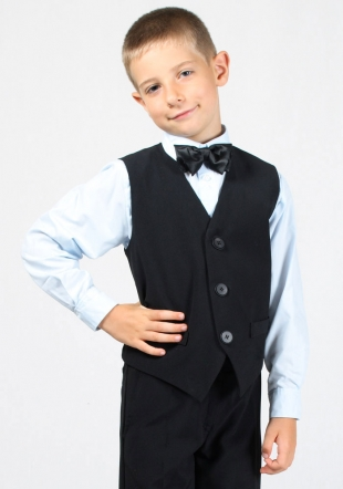 Boys black vest with slim fit RUMENA
