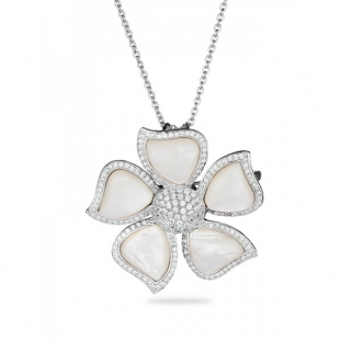 Silver necklace-brooch with nacre flower pendant with zircons FLOWERNW Swan