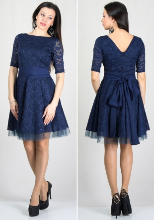 Evening blue lace dress with wide skirt with belt RUMENA