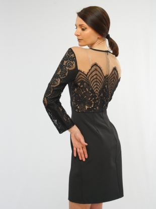 Women's lace dress in black and beige 7803