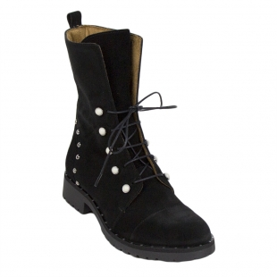 High Ladies Black Suede Boots 34256