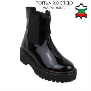 Women's black patent leather boots with frint zipper 20495