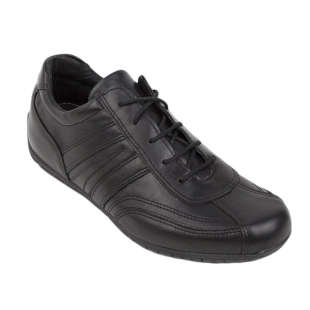 Men's black sneakers with oval front 094BLACK