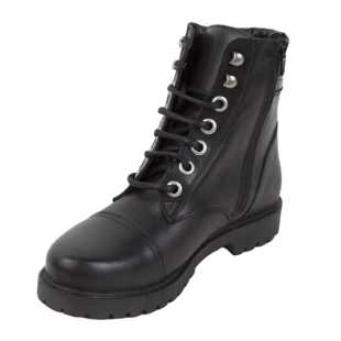 Women's black leather boots with ties and zip 20444
