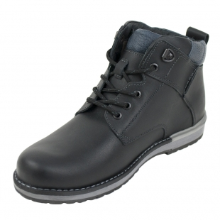 Men's black leather boots with real lambswool lining
