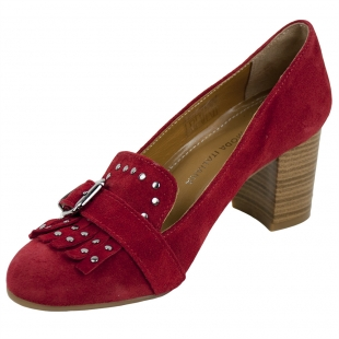Women's red leather elegant shoes with fringes