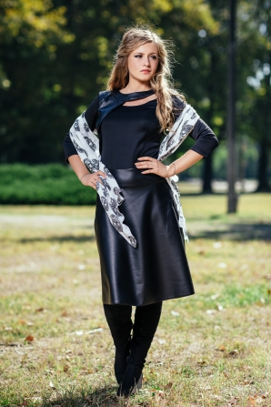 Black dress with leatehr skirt and sewn asymmetric bolero Avangard