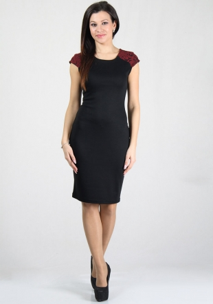 Black dress with contrast details on shoulders RUMENA