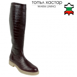 Women's bordeaux leather boots with croco print 32690
