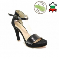 Women's high-heeled sandals with closed heel made of natural suede and lacquer in black color with anatomical insole 21265
