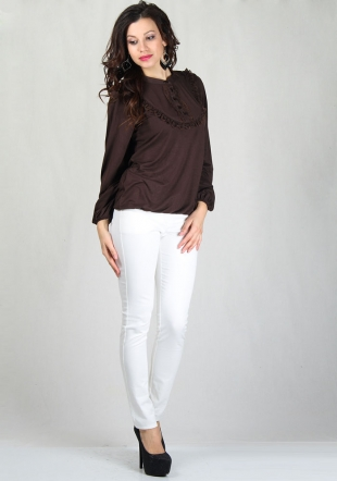 Women's brown top with lace neck RUMENA