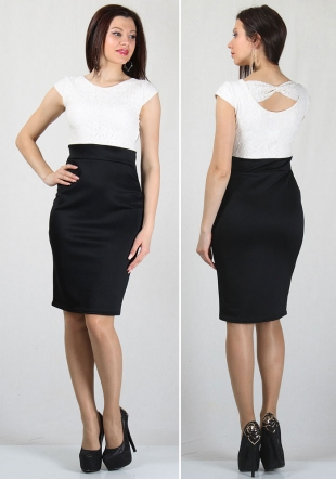 White lace top and black skirt dress RUMENA