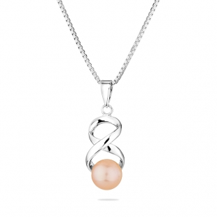 Silver necklace with natural pink pearl IEP0317P Swan