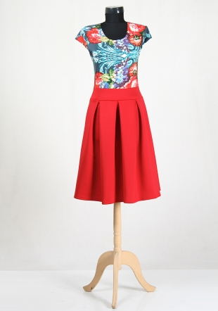 Dress short sleeved with red skirt RUMENA