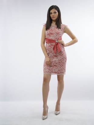 Ladies elegant dress in coral color with pink lace and brooch 72001-771-807