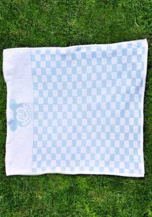 Blue checked wooven blanket with Mickey Mouse