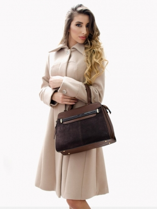 Women bag in coffee color and dark blue 7834