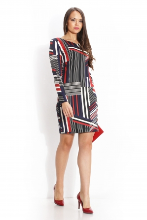 Long sleeved dress of abstract stripes