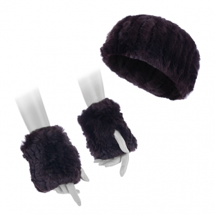 Women's brwon rabbit fur head band and mittens 20597