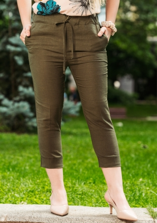 Sporty elegant trousers in tobacco color with elastic band Avangard