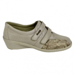 Ladies orthopedic beige leather shoes in combination with stretch