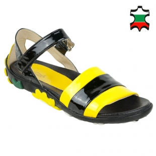 Women's black and yellow patent leather sandals with rubber flowers