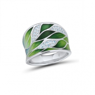 Silver ring with hand-painted  leaves and zircon stones PJ303R Swan