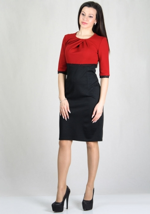 Red and black dress with lace elements RUMENA
