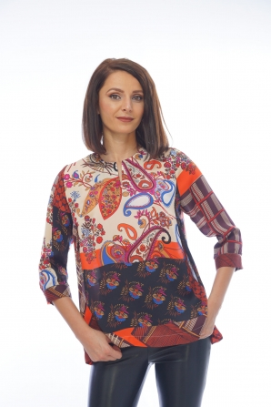Women's tunic with colorful motifs 82011-316