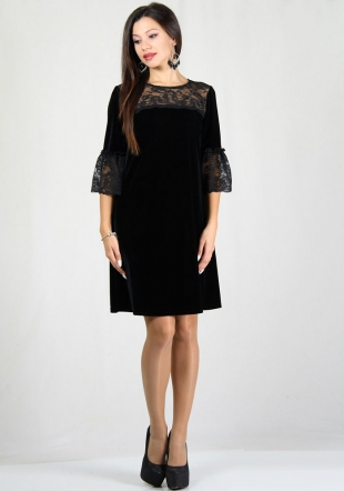 Blacke velvet wide cut dress with lace frilled sleeves RUMENA