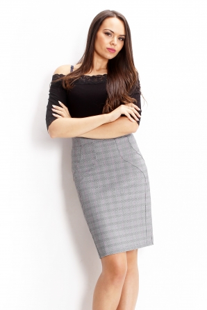 Plaid skirt with a high waist