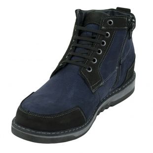 Men's blue leather boots 32705
