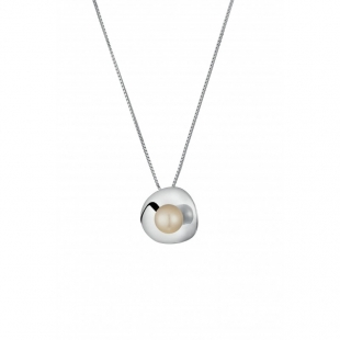 Silver necklace with natural white pearl CAA023 Swan