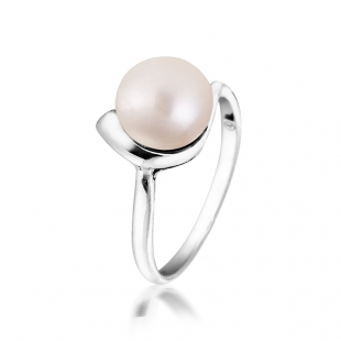 Silver ring with white freshwater pearl SR0002A Swan