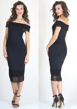 Pencil-dress with nude shouldres and lace elements RUMENA
