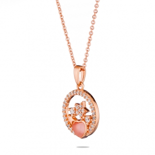 Pink gold heart and stars pendant necklace with zircons END456N Swan