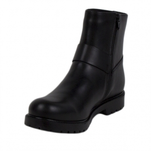 Women's black leather boots 20413